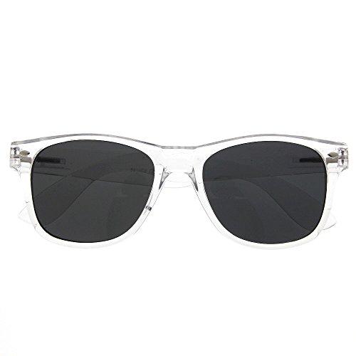 grinderPUNCH Crystal Clear Frame Lens Transparent Sunglasses Eyeglasses Retro 80's Smoke - Frame Clear Wayfarer