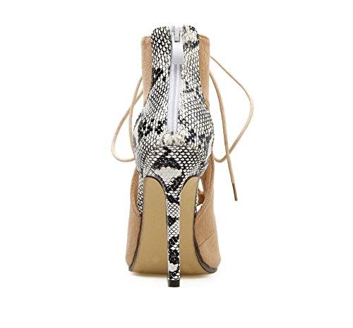 Travail eu39 Sandales D'été Haute 5 Bottes Us8 De Hauts Mode Talons Chaussures uk6 5 cn40 Taille Femmes Casual Tmkoo 11 Respirant 2018 Beige Sexy Cm Parti IBqOIX