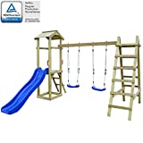 Festnight Set Playhouse Tower Playground Slide Ladder Swing Outdoor Garden - Pinewood, 286x237x218 cm