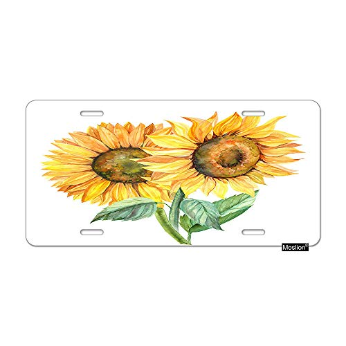 (Moslion Sunflower License Plate Nature Watercolor Painting Floral Plant Leaves Car Tags Aluminum Metal Custom License Plate Cover 6x12 Inch for Truck SUV Yellow)