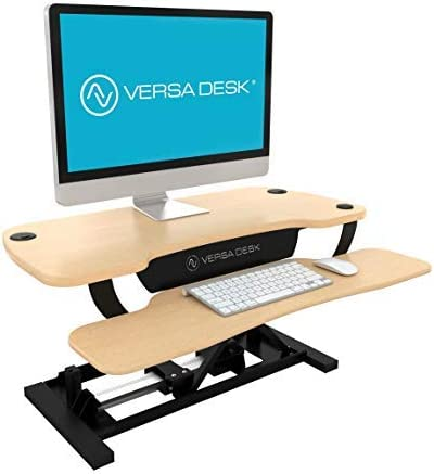 VersaDesk Power Pro – 48 Electric Height-Adjustable Desk Riser – Sit to Stand Desktop with Keyboard and Mouse Tray – Maple