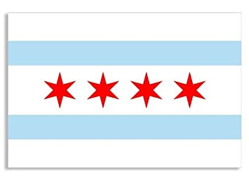 Chicago City Flag Sticker (illinois logo decal)