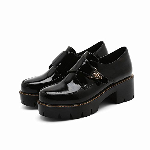 Latasa Damesmode Dikke Hakken Loafers Schoenen Zwart