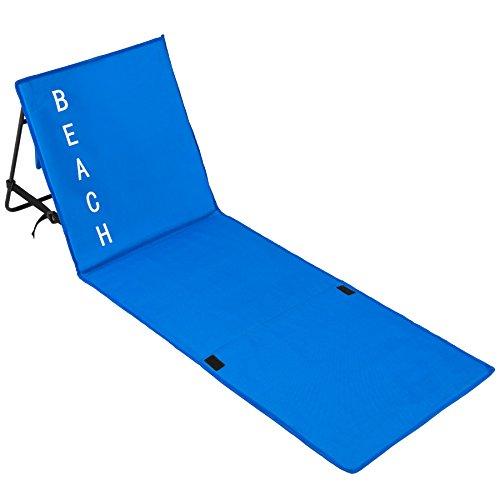 🥇 TecTake Esterilla de Playa Acolchada Respaldo Ajustable con asa de Transporte