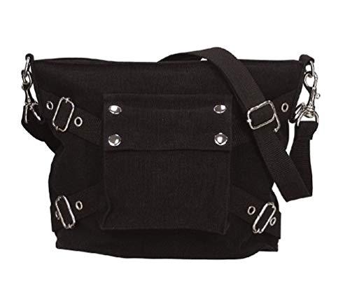 Womens Girls Black Canvas 1 Pocket Handbag Purse Pocketbook Goth Dark Look
