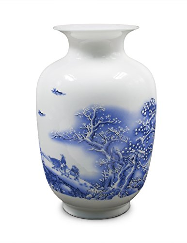 Dahlia Snowy Day Blue and White Oriental Porcelain Flower Vase, 9 Inch Melon Shaped