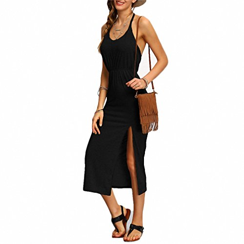 Halter Sleeveless Backless Side Split Sheath Long Beach Ladies Cotton Dresses NEW Summer Dress Black S ()