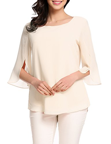 Cream Scoop Neck - ACEVOG Women's Casual Chiffon Blouse Scoop Neck 3/4 Sleeve Top Shirts (Cream, X-Large)