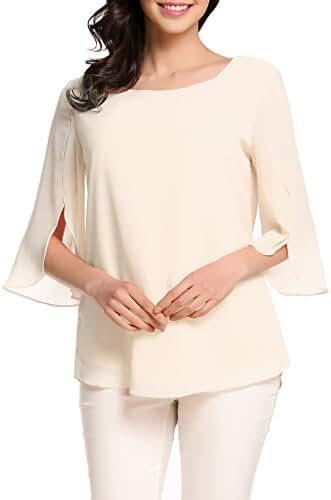ACEVOG Womens Casual Chiffon Ladies Scoop Neck 3/4 Sleeve Blouse Tops