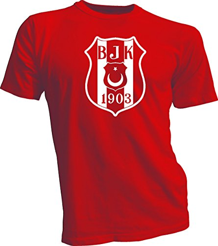 fan products of Besiktas JK Turkey Soccer T Tee Shirt UEFA Men's Red Medium White logo