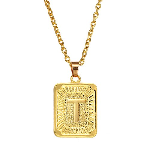 Square Gold Charm - AOASK Initial Letter A-Z Square Pendant Gold Plated Charm Necklace for Women Mens Jewelry (T)