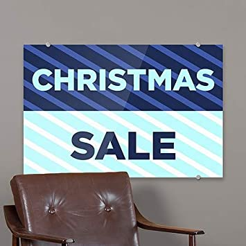 27x18 5-Pack Christmas Sale CGSignLab Stripes Blue Premium Brushed Aluminum Sign