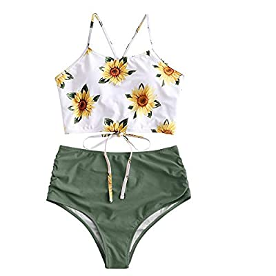 ZAFUL Women's Leaf Print Lace Up Ruched High Waisted Tankini Set Swimsuit