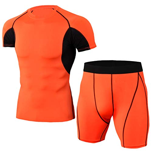 Outique Men's Tracksuit T-Shirts and Shorts,Elastic Fitness T-Shirt Fast Drying Tops Pants Sports Tight Athletic Set Orange ()