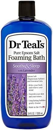 Dr Teal's Foaming Bath with Pure Epsom Salt, Soothe & Sleep with Lavender, 34 Ounces
