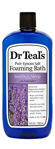 Dr Teal's Foaming Bath with Pure Epsom Salt, Soothe & Sleep with Lavender, 34 Ounces Pure Foaming
