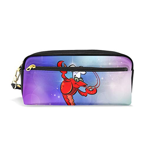 ALLDET-PU Crawfish Chef Novelty Colored Cosmetic Bag Zipper for Travel Storage Makeup Bags - Craw Red Black Glitter