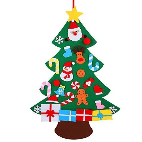 KEFAN - Árbol de Navidad para Colgar en la Pared, de Fieltro, con Adornos, para decoración de Navidad de niños, B