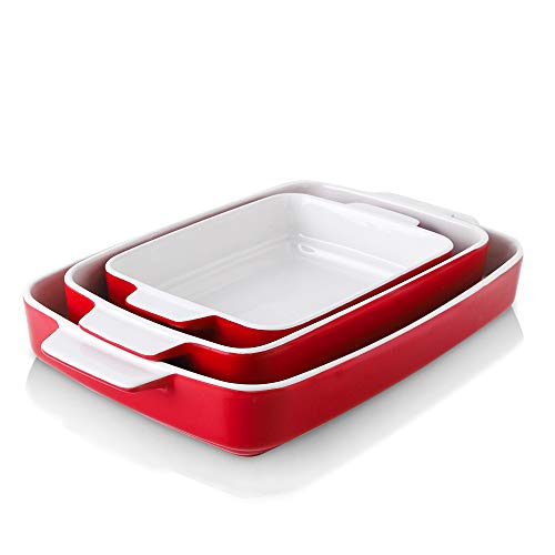 KOOV Bakeware Sets, Ceramic Baking Dish Set, Casserole Dish Set for Cooking, Cake Dinner, Kitchen, Rectangular Lasagna…