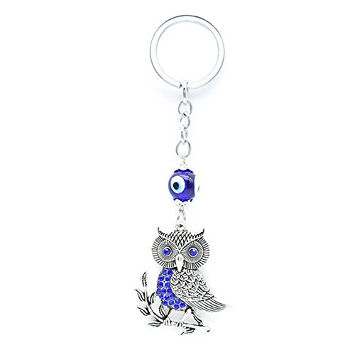 Muzuri Feng Shui Amulet Talisman Nazar Rhinestone Blue Owl Stand on Wheat Ears Evil Eye Keychain Key Ring/Key Chain for Protection (Sliver Owl)
