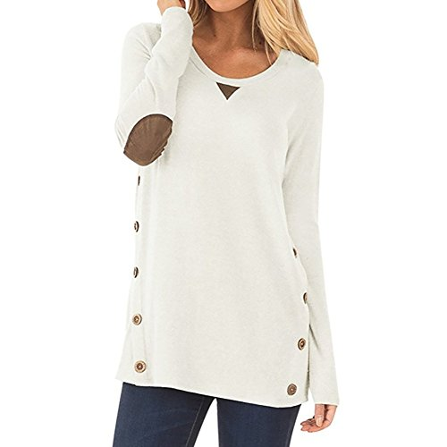 Meeshine Women Casual Long Sleeve Loose Side Button Faux Suede Elbow Patches Solid Color Loose Fit Tunic Tops T-Shirt Blouse (Button Washable Suede)
