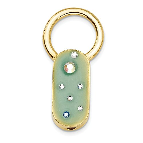 Gold-tone Green Enamel With Crystals Key Fob (Crystal Accent Gold Tone Key)