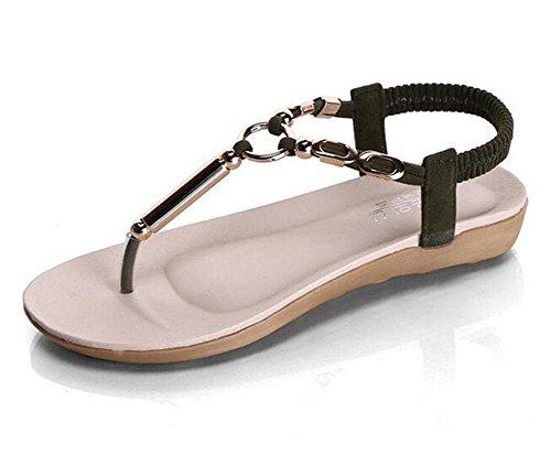 de sandalias Las con 1 de KUKI plana playa moda planas señoras romanas zapatos WO6HHqcY