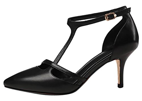 Calaier Women Caseem Pointed-Toe 6CM Stiletto Buckle Court Shoes Black VPsASAaH
