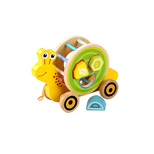 Fenleo Kids' Toy Wooden Shape Pull Toy - Wooden Puzzle Educational Toy Toddler Learning Toy