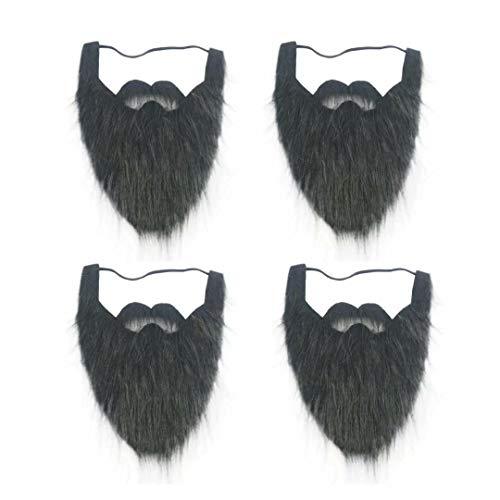 Black Full Beard and Mustache face Beard for Kids Elastic Facial Hair Halloween Viking Costume 4 ()