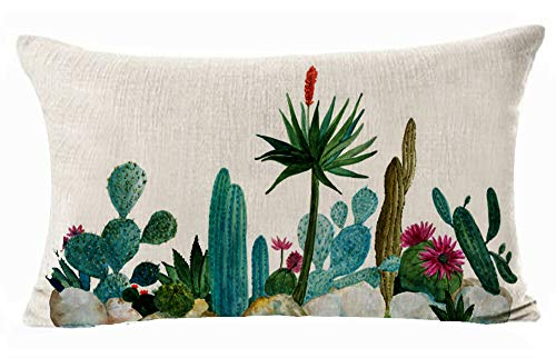 Hand Painted Green Cactus Potted Plants Blue Sky Cotton Linen Cushion Cover Case for Sofa Living Room Family Office Decorative Throw Lumbar Pillow Case 12 X 20 inches ??