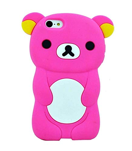 iPod Touch 6 Case, iPod Touch 5 Case, 3D Cute Cartoon Bear Animal Shaped Kids Girls Soft Rubber Silicone Shockproof Case Protector Skin Cover for iPod Touch 6th 5th Generation (Rose)