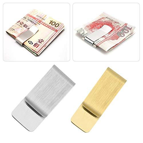 fghdf Men Women Stainless Steel Money Clip Cash Note Credit Card Holder Wallet Purse