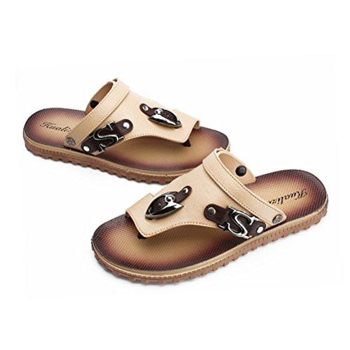 Jazlyn Mens England Cacual Soft Metal Buckle Flat Flip Flop Sandals shoes032-Beige S PR3OMz