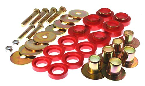 Energy Suspension 3.4142R Body Bushings - Energy Suspension Body Mount Bushings Body Mount Bushings - Polyurethane - Red - Chevy - Pontiac - Camaro - Chevy II - Nova - Firebird - Set of 12
