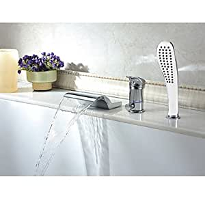 Chrome Finish Contemporary Waterfall Widespread Tub Faucet With Hand Shower