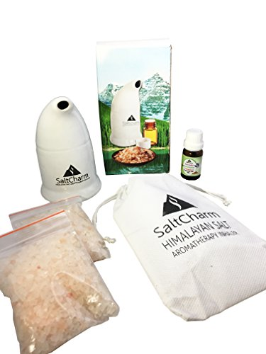Himalayan Pink Salt Ceramic Inhaler with Aromatherapy Essential Oil 5ml Sample, and All-Natural Respiratory Aid for Allergies, Asthma, Better Health, Detox, Relaxation and Pain Relief
