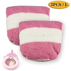 MYIDEA Warm Guinea Pigs Bed,Hedgehog Winter Nest,Rat Chinchillas & Small pet Animals Bed/Cube/House, Habitat, Lightweight, Durable, Portable, Cushion Big Mat (Small Pet - L, Pink Pig Mats)