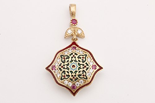 Motif Style Turkish Handmade All Authentic Jewelry Red Enamel Round Cut Ruby Topaz 925 Sterling Silver Pendant ()