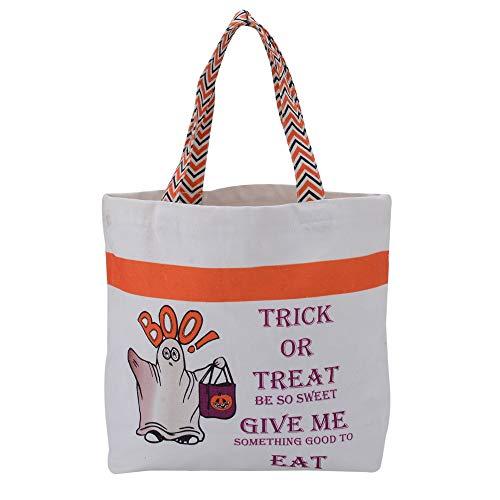 Cute Ghost Print Canvas Tote Bag - Halloween