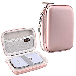 Canboc Shockproof Carrying Case Storage Travel Bag for HP Sprocket Plus/Select Instant Photo Printer, Kodak Mini 2 / Mini Shot Portable Mobile Printer Camera Protective Pouch Box, Rose Gold