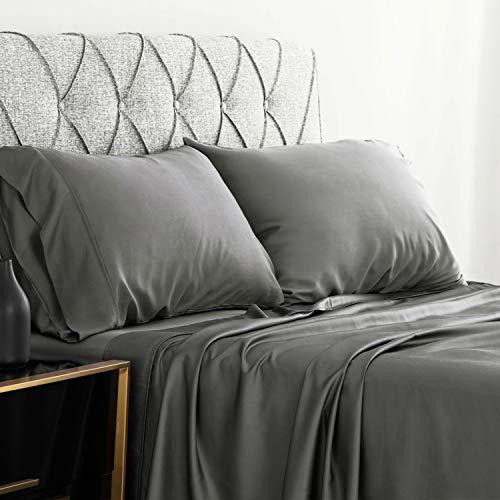 Bedsure Bamboo Bed Sheet Set Twin Size Grey 100% Bamboo Viscose Bed Linen in Gift Box