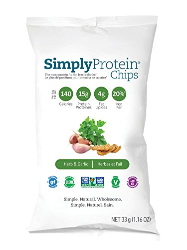 SimplyProtein Chips, Herb, GF and Vegan - 0.072 Pound, pack of 12