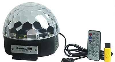 Leeko Mp3 LED RGB Crystal Magic Ball Effect Light 6 Color Rotating Disco Stage Light with Remote Control U-disk for KTV Xmas PartyClub Pub