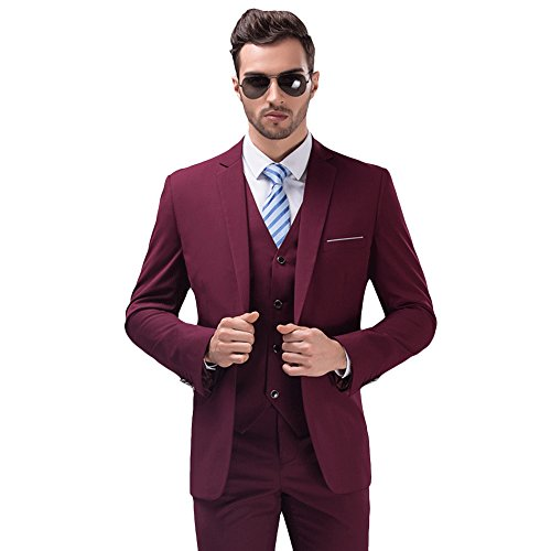 MY'S Men's Suit Slim Fit One Button 3-Piece Suit Blazer Dress Business Wedding Party Jacket Vest & Pants Burgundy by MY'S