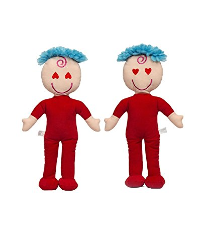 Awake and Asleep Red Hearts Soft Rag Doll Plush Toy - Double Face Doll for Kids 15