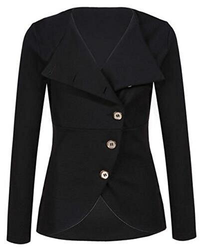 Kerlana Soprabito Manica Puro Bottone Giacca Colore Moda Black Donna Cappotto Casual Cardigan Lunga Outwear Tqw40TRr