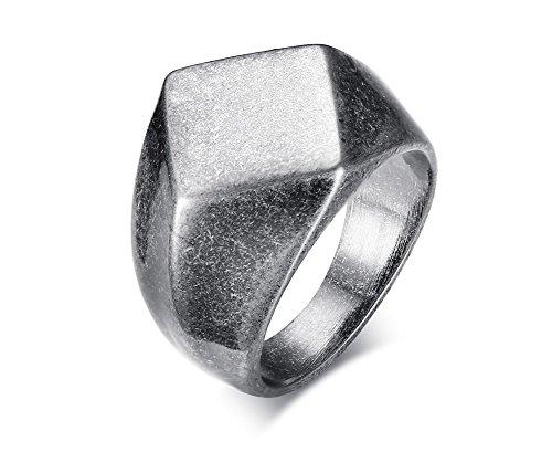 XUANPAI Men's Vintage Simple Stainless Steel Signet Ring Geometric Diamonds Shape Biker Ring Band Diamond Shape Signet Ring