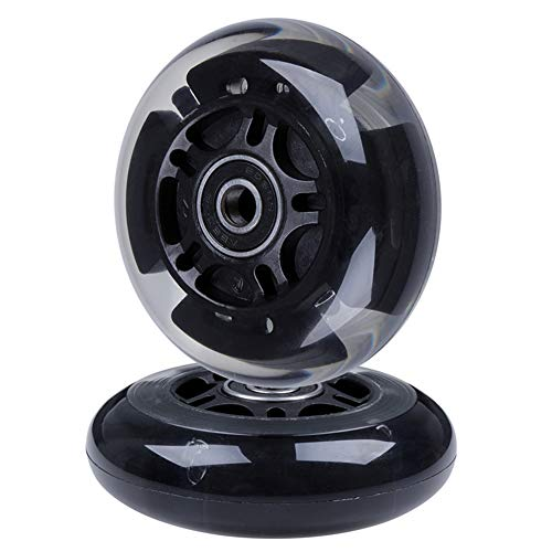 AOWISH 2-Pack Light Up Scooter Rear Wheels 80mm LED Flashing Inline Skates/Rollerblade Replacement Wheel with Bearings ABEC-9 for Toddle Kids Adjustable 3-Wheel Kick Scooters (Clear/Black)