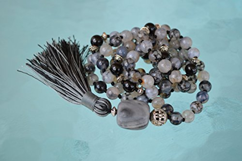 108+1 Black Tourmaline 8 mm Knotted Mala - deflecting radiation energy,repel and protect from negative energy and changes into positive energy - USA seller by Awaken Your Kundalini - For Genuine Gemstone Hand Knotted Japa Mala Beads Necklace & Bracelets